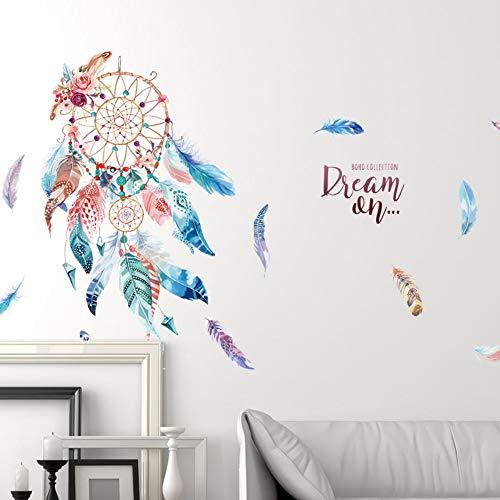 WANQT Pegatinas de pared Princesa niña niña decoración de la pared viento etiqueta de la pared autoadhesiva wallpaper persiguiendo atrapasueños, 100 * 63 cm