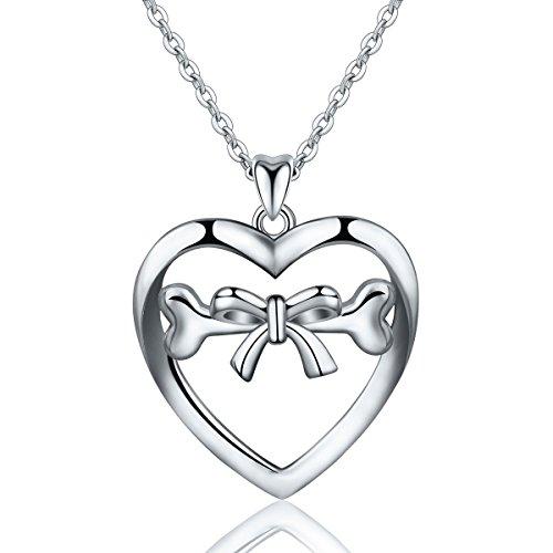 Eudora niedliche Sterling Silber vergoldet Rhodium bowknot-tied-bone Herz Anhänger Halskette für Mädchen, 45,7cm Kette (Niedliche Schwester Kostüme)