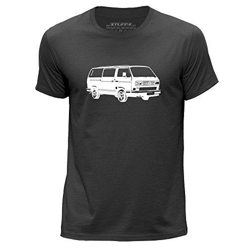 Mann-schablonen Kleiner (STUFF4 Herren/Klein (S)/Dunkelgrau/Rundhals T-Shirt/Schablone Auto-Kunst / VW T3 Kombi)