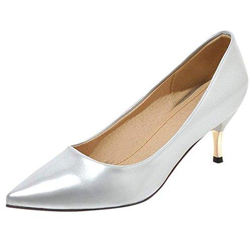 Artfaerie Damen Kitten High Heels Pumps mit Spitze Slip On Lack Basic Büro Arbeit Schuhe(EU 39,Silber) -