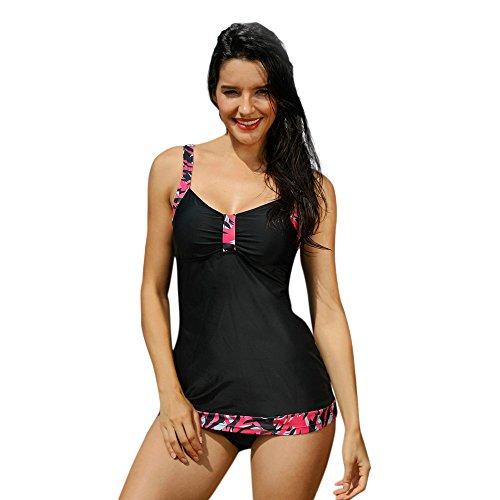 Damen Bikini Set FORH Frauen Sexy Neckholder Bademode Elegant Drucken Tankini Weste Zwei Stück Badeanzüge Badebekleidung Oberteil + Slip zweiteilig Swimwear Beachwear (Schwarz, XL) (Schwarz Stück 2 Neckholder)