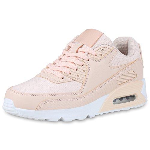 Große Hohe Activewear (SCARPE VITA Damen Sportschuhe Profil Sohle Laufschuhe Leder-Optik Sneaker 165756 Nude Glitzer 38)