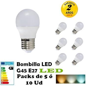 G45-Bombilla LED E27 3W 4W 5W 6W 7W Packs de 5 ó 10 Unidades ahorras hasta 80 por ciento de luz (6000K LUZ BLANCA, PACK 5 6W)