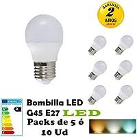 G45-Bombilla LED E27 3W 4W 5W 6W 7W Packs de 5 ó 10 Unidades ahorras hasta 80 por ciento de luz (3000K LUZ CALIDO, PACK 5 7W)