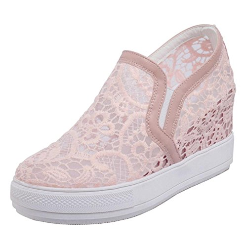 Coolcept Femmes Confort Air Mesh Invisible Talon Compensé Baskets Chaussures
