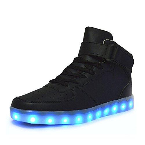 Aidonger Unisex Erwachsene High-Top LED Schuhe Sneaker Sportschuhe USB Lade Outdoor Leichtathletik beiläufige Paare Schuhe(EU 36, Schwarz)