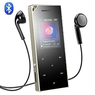 AGPTEK Bluetooth 4.0 16 GB MP3 Player mit Touch Bedienfeld, HiFi Metall Musik Player mit 1,8 Zoll TFT Farbbildschirm, Lautsprecher und Lanyard Loch, unterstützt bis 128 GB SD Karte, Silber