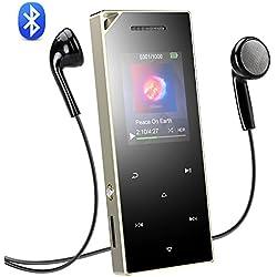 AGPTEK 16Go Haut-Parleur MP3 Bluetooth 4.0 en Métal Stéreo Excellent Lecteur Baladeur Sport avec Boutons Tactiles & Bouton de Verrouillage/Enregistrement, Carte Support 128Go-A05ST Argent