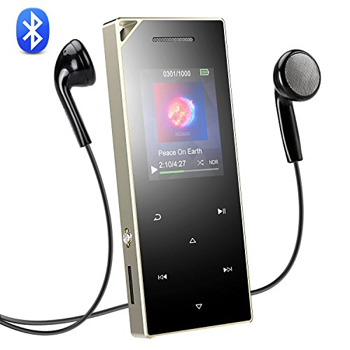 AGPTEK Bluetooth 4.0 16 GB MP3 Player mit Touch Bedienfeld, HiFi Metall Musik Player mit 1,8 Zoll TFT Farbbildschirm, Lautsprecher und Lanyard Loch, unterstützt bis 128 GB SD Karte, Silber