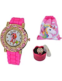 Lucky Rainbow Unicorn Light Pink Stones Reloj de Pulsera analógico de Cuarzo para niñas, Luminoso