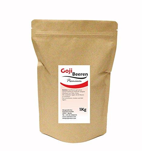 Superkost Premium Goji Beeren, Rückstandskontrolliert, ungeschwefelt, Rohkostqualität (1000g)