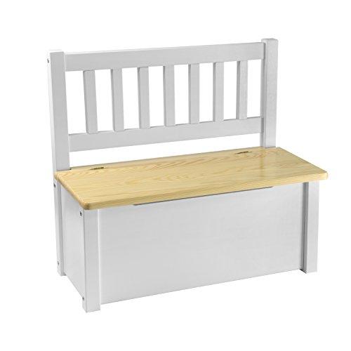 rabando® Enfant en pin europäischem bois massif Table pour enfants, enfants chaise, banc de rangement Blanc en bois nu Klarlack