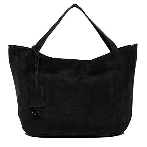 BACCINI® Handtasche mit langen Henkeln SELMA - Damen Schultertasche groß Ledertasche - Handtasche mit Schlüsselanhänger Damentasche echt Wildleder schwarz (Echt Leder Wildleder Damen)