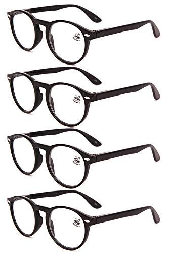 VEVESMUNDO® Lesebrillen Damen Herren Retro Runde Lesehilfe Sehhilfe Arbeitsplatzbrille Nerdbrille Hornbrille mit Stärke Schwarz Leopard Blau Rot Brau (4 Stück Schwarz Lesebrillen, 2.5)