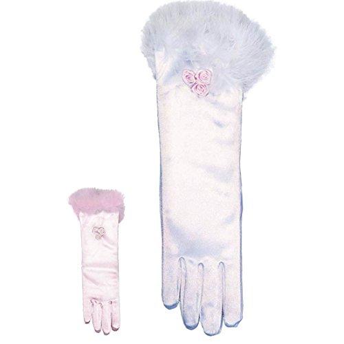 Prinzessin Handschuhe Königin Kinderhandschuhe weiß Prinzessinnen Stoffhandschuhe Fasching Ballerina Handschuh Paar Prinzessinnenparty Kinder Brauthandschuhe Ballett Mottoparty Accessoire Karneval Kostüm Zubehör