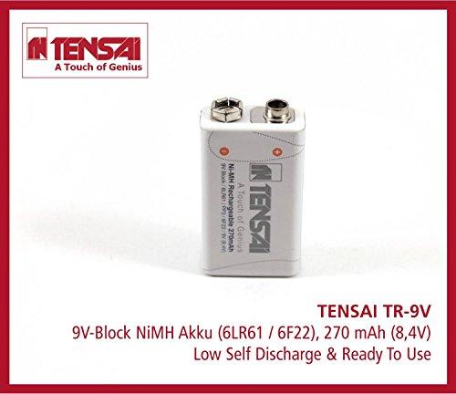 Tensai TR-9V 9V-Block 6LR61 6F22 Ready2use Batterie à décharge lente 270 mAh