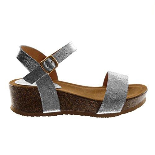 Angkorly Scarpe Moda Sandali Mules con Cinturino Alla Caviglia Zeppe Donna Lucide a Grana Sughero Tacco Zeppa 5 cm Argento