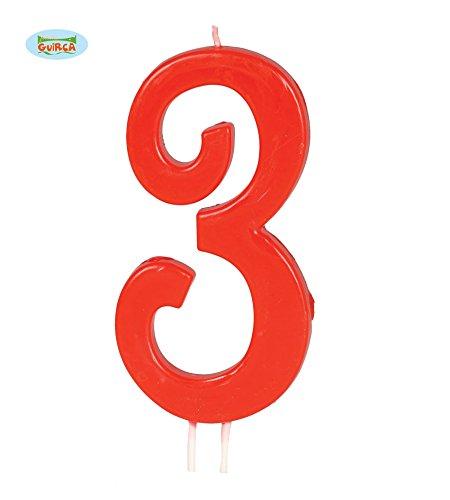 (Guirca Rote Kerze Nummer 3 - Deko Geburtstag Kuchen Torte Kerzen Drei ca. 11,5 cm)