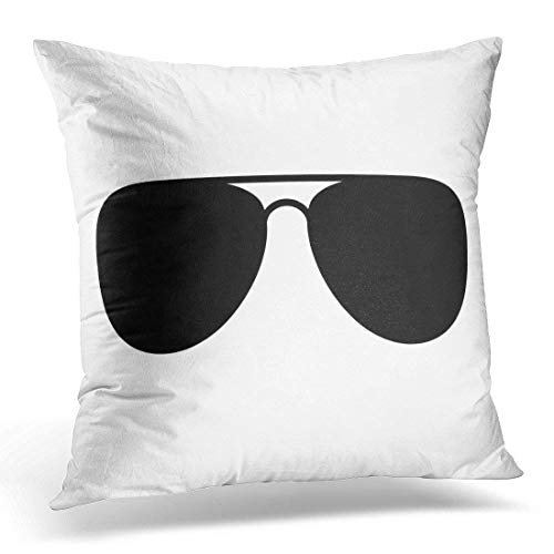 Black Glasses Aviator Sunglasses Shades Protective Eyewear Flat Icon for Apps and Websites Eye Spy Decorative Pillow Case Home Decor Square 18x18 Inches Pillowcase