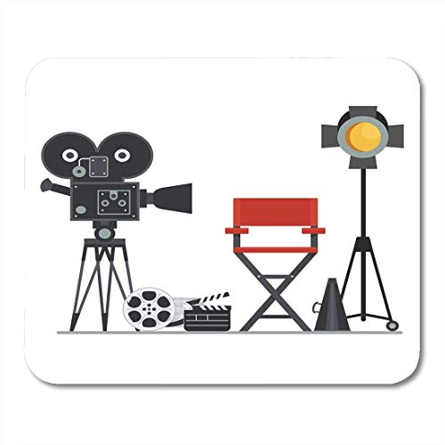 Deglogse Gaming-Mauspad-Matte, Film Directors Chair with Megaphone Projector Camera and Clapboard Work on The of Flat Cartoon Objects Mouse Pad,Desktop Computers