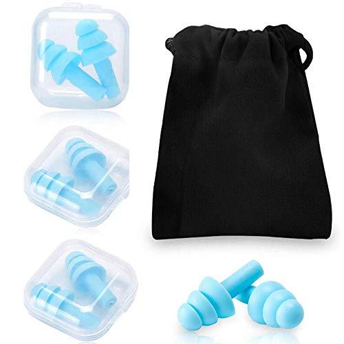 Wiederverwendbare Silikon-Ohrstöpsel, 4 Paar Gehörschutzstöpsel SNR 32dB, zum Schwimmenwasserdicht, weich Gehörschutz zum Schlafen & für Flugzeuge - mit Tragbar Box