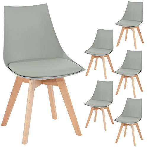 Küche Stuhl Polster (6er Set Holz küchen stühle, EGGREE Retro gepolsterter Bürostuhl mit Füßen in massivem Buchenholz - Grau,50*48*82 cm)