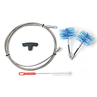 Cleaning Kit for Curved Chimney Flues and Pellet Stoves comprising 1 x 3-Metre Stainless Steel Rods (new for 2018), 1 x 80mm Flexible Brush and 1 x 100mm Flexible Brush by Baretto Spazzole