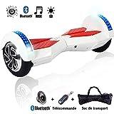 Magic Vida TW02 Skateboard Électrique 8 Pouces Gyropode Tout-Terrain Moteur 700W, Fonction Bluetooth et LED, Smart Scooter Électrique Auto-équilibrage(Blanc & Rouge)