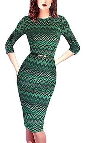 SunIfSnow - Robe spécial grossesse - Moulante - Manches 3/4 - Femme - vert - Large