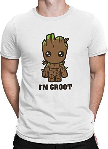 Guardians of the Galaxy Comic Baby I AM GROOT Film / Premium Fun Motiv T-Shirt XS-5XL mit Aufdruck / Ideales Geschenk, Color:Weiß (Bunt), (Kostüm Groot Damen)