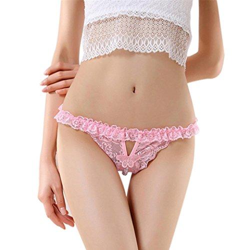 Höschen Pearl (Unterwäsche Dessous lingerie Damen,Yanhoo Heiße Mode Frauen reizvolle Dessous Spitze Open Crotch Unterwäsche Pearl Thong Culotte Damen Höschen (Rosa, Freie Größe))