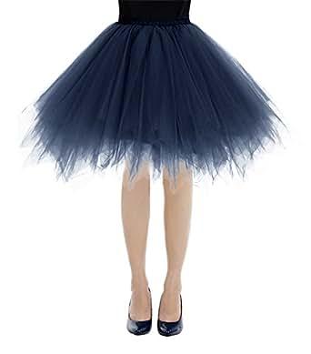 Bbonlinedress Ballet Tutu en Tulle Jupe Courte Style années 50 Navy S