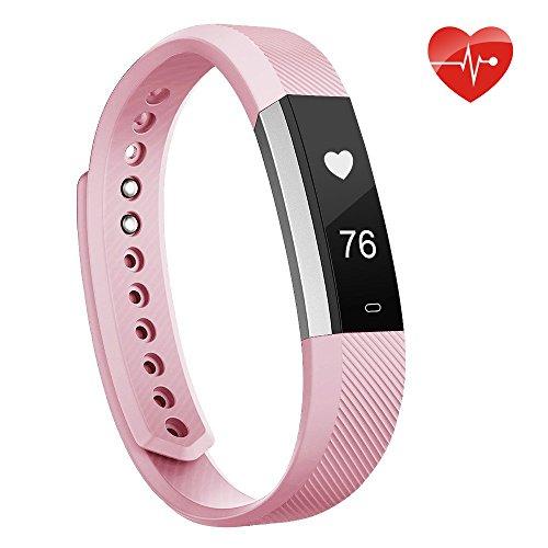 moreFit Slim fitness tracker pulsmesser, Smart Uhr Fitness Armbanduhr Schlafüberwachung Aktivität Fitness Tracker Herzfrequenz,Schrittzähler Uhr für Damen,Herren Iphone6/Iphone7,Rosa