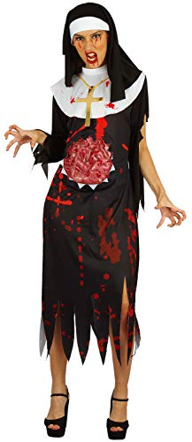 U LOOK UGLY TODAY Halloween Kostüm Damen Nonne Zombie Vampir Spitze Kleid Cosplay Karneval Abendkleid Verkleidungsparty Dress Up mit Kopftuch- S/M - 42