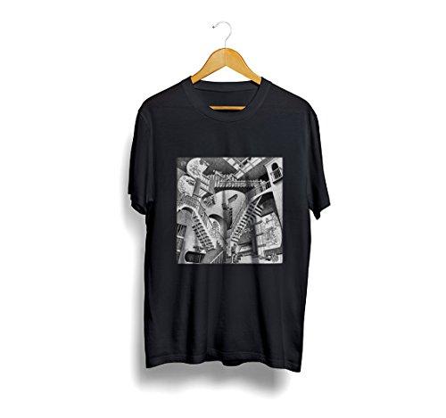Giallo Bus - T-shirt - Escher Relativity - Nero