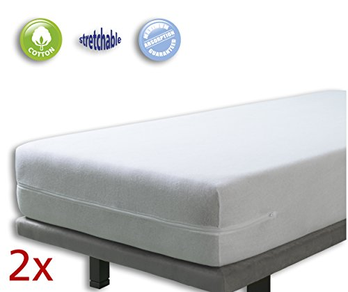 100% Natürlicher Latex-matratze (VELFONT – Set mit 2 (Pack) Frottee-Matratzenbezug aus 100% elastischer Baumwolle - Weisse - Matratzen-Höhe 15-25cm - verfügbar in verschiedenen Größen - 90x190/200cm)