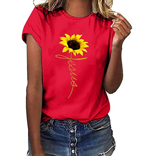 iHENGH Damen Top Bluse Bequem Lässig Mode T-Shirt Blusen Frauen Plus Size Sunflower Print Kurzarm T-Shirt Bluse Tops(Rot, - Shake It Up Kostüm