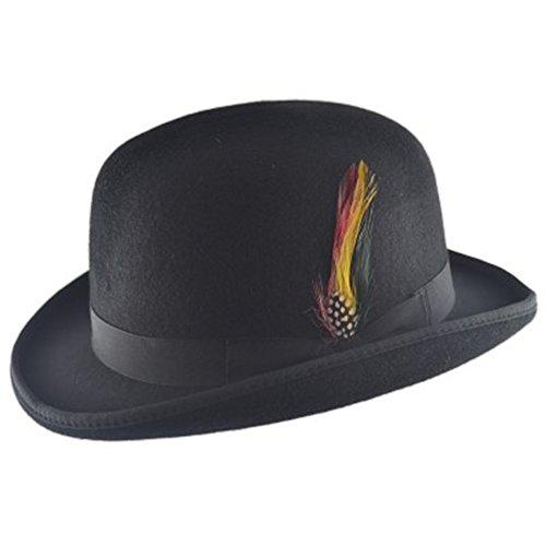 Hochwertiger Bowlerhut mit Feder, harte Oberseite, 100 % Wolle, mit Satin ausgekeidet Gr. Large, schwarz