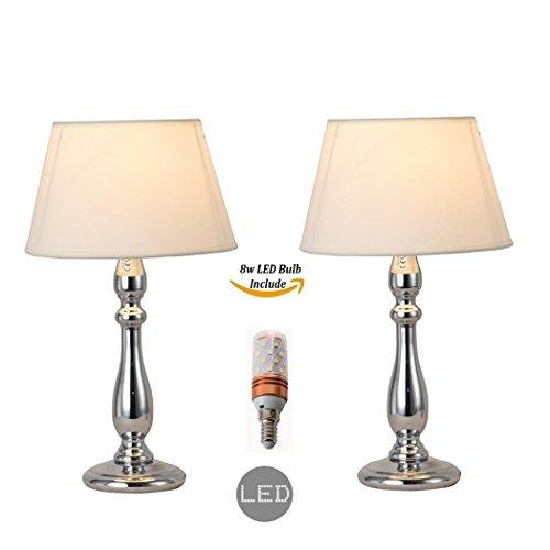 Paquete de 2 piezas de lámpara de mesa de cromo y sombra de lámpara