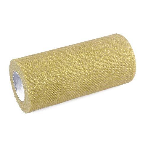 Glitzernder Tüll, Stoffband-Rolle, glänzendes Netzband, 15,2cm breit, 22,8 m Länge, für Tutu-Rock, Hochzeitsdekoration, Tischläufer gold