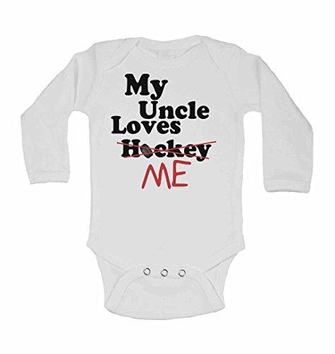 My Uncle Loves Me Not Hockey Gilet à manches longues pour bébé pour garçons et filles Blanc 2 à 3 ans