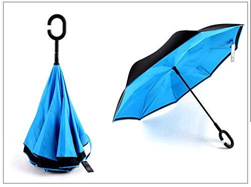 GTWP GT Regenschirm Automatik Mode Hands-frei, männlich und weiblich, langer Stiel, umgekehrter Regenschirm Stockschirm Robuste winddicht Anti-UV-Sonnenschutz Dach