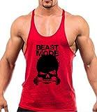 Samgoo Herren Baumwolle Körperhemd Training Sportweste Bodybuilding Tank Top (M, Rot)