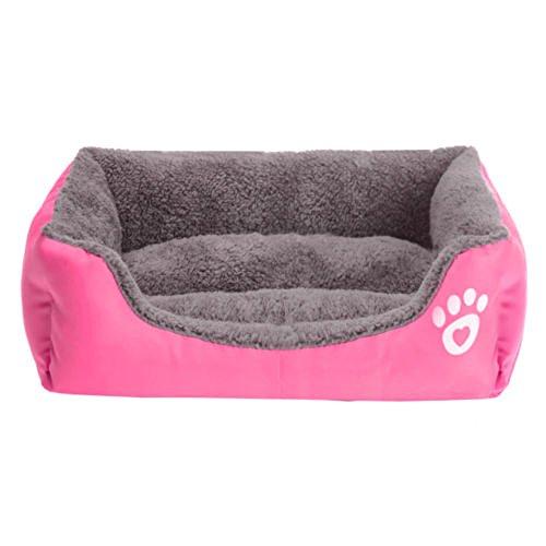 Tping Waschbar Tierbett Hundebett Katzenbett mit Kuscheleinlage für Hunde Welpen Katze Haustier (Mittel, Rose)