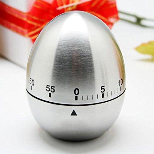 ieruhr Kochen Timer Alarm Eiförmige Edelstahl Kurzzeitmesser mit Stoppuhr (Ei-timer 10 Minuten)