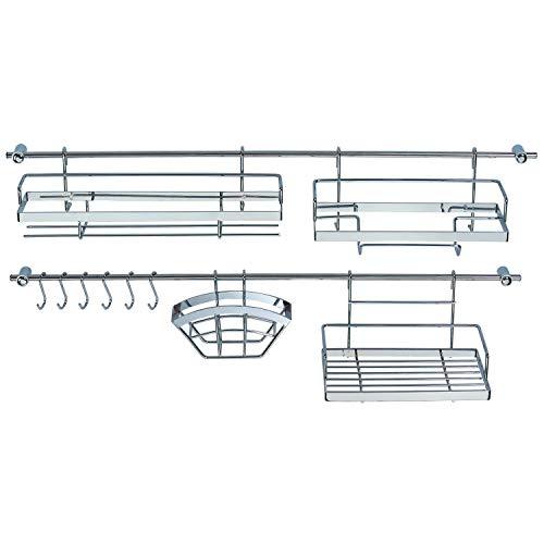 Küchen Organizer 16-teilig - 2 Hakenleiste (je 78 cm) mit 4 Halterungen + 6 Haken - mit 2...