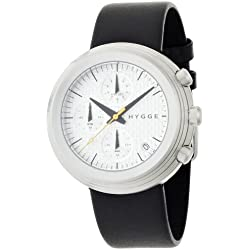 Hygge 2312 Unisex Quartz Watch with White Dial Chronograph Display and Black Leather Strap MSL2312C(CH)