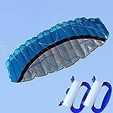 Oyamihin 2,5m Dual Line Stunt Fallschirm Soft Parafoil Segel Surf Kite Power Sport Kite Huge Large Aktivität im Freien Strand Flying Kite - Blau
