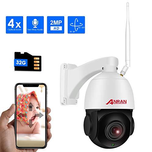 ANRAN Überwachungskamera WLAN IP Kamera PTZ 1080P 4X Optischer Zoom Drahtlose Dome Kamera mit 32 GB SD Karte IP66 Wasserdicht Außen Nachtsicht Bewegungserkennung Audio-Aufnahme, Nur 2,4GHz Unterstützt