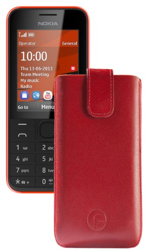 Original Favory ® Etui Tasche für / Nokia 225 / Leder Etui Handytasche Ledertasche Schutzhülle Case Hülle *Lasche mit Rückzugfunktion* In Rot